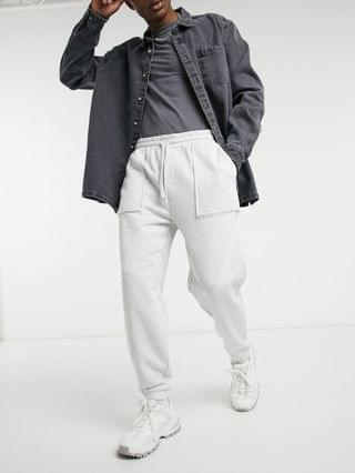 oversized sweatpants with pocket detail in white marl
