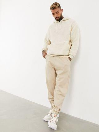 two-piece oversized hoodie in off-white teddy