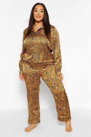 WOMEN Plus Leopard Trouser PJ Set