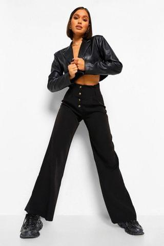 WOMEN Button Front Wide Leg Trouser
