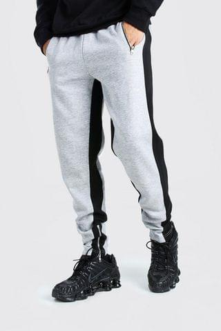 MEN Skinny Fit Jogger Wide Side Stripe And Zip