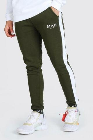 MEN MAN Embroidered Cuff Side Panel Skinny Jogger