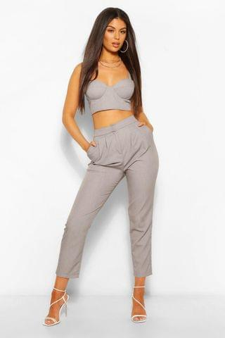 WOMEN Woven Tailored Pleat Tapered Trouser