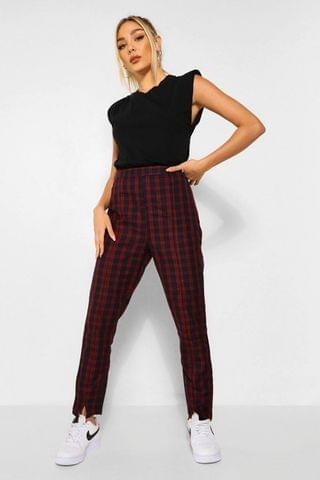 WOMEN Checked Split Front Woven Trousers