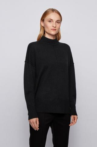 WOMEN Relaxed-fit sweater in pure cashmere with mock neck