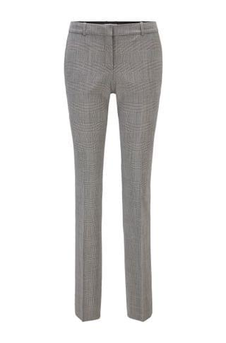WOMEN Regular-fit pants in a checked stretch-wool blend
