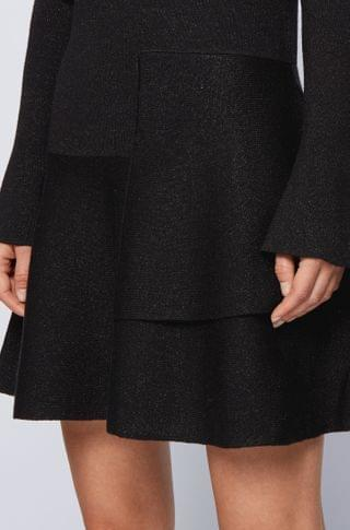 WOMEN Fit-and-flare knitted dress in a sparkly wool blend