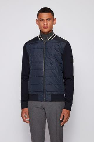 MEN Bomber-style zip-through sweatshirt with quilted front