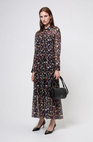 WOMEN Tiered shirt dress in silk chiffon with collection print