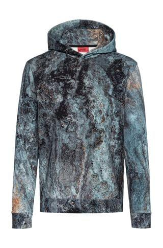 MEN Hooded sweatshirt in cotton with collection-themed marble print