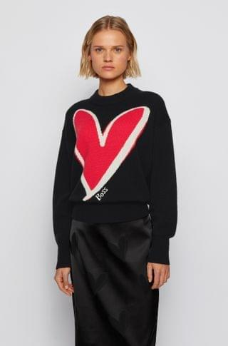 WOMEN Relaxed-fit sweater in pure cashmere with heart intarsia
