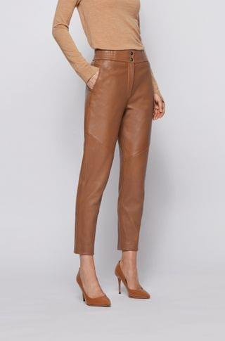 WOMEN Regular-fit cropped pants in plong leather