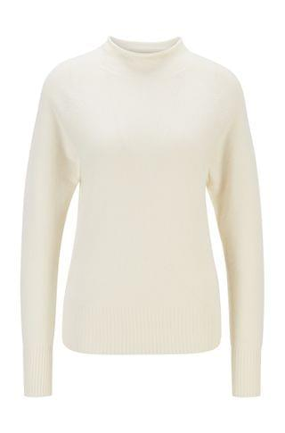 WOMEN Regular-fit sweater with funnel neck in pure cashmere