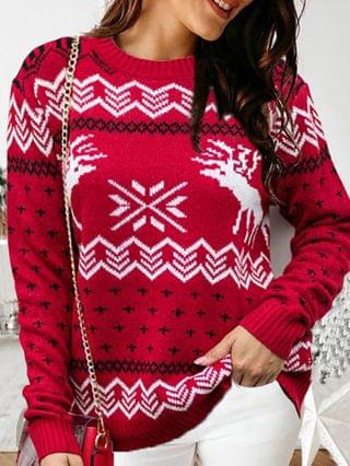 WOMEN Christmas Moose Print Colorblock Knit Ugly Sweater