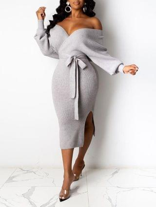 WOMEN Backless Ribbed Long Sleeve Casual Dress