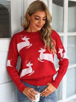 WOMEN Christmas Moose Pattern Casual Ugly Sweater