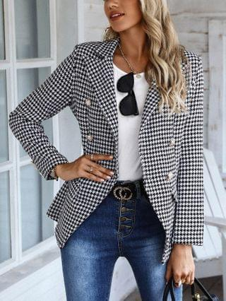 WOMEN Houndstooth Print Double Breasted Blazer Coat