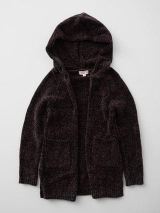 KIDS - Poof Chenille Hooded Cardigan Sweater