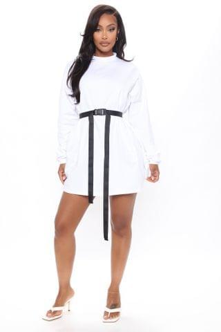 WOMEN All Buckled In Long Sleeve Tee Dress - White