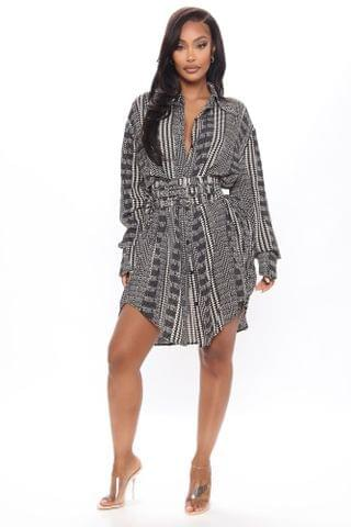 WOMEN Going Big Houndstooth Corset Shirt Dress - Black/combo