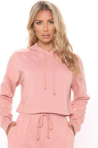 WOMEN Work Things Out Fleece Crop Hoodie - Mauve