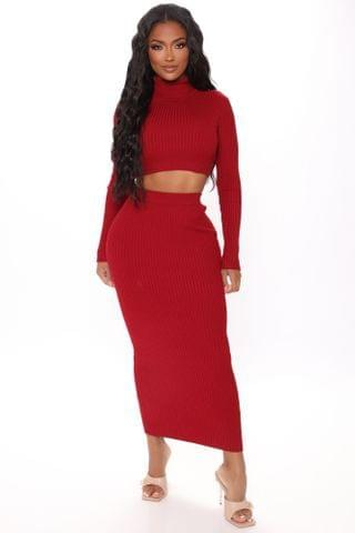 WOMEN Up To No Good Ribbed Midi Skirt Set - Red