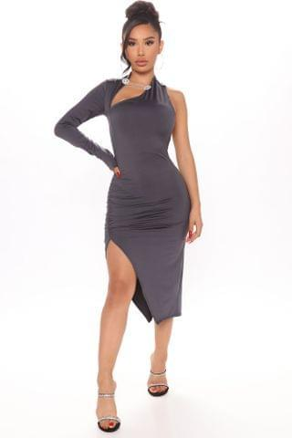 WOMEN Rosanna One Shoulder Midi Dress - Grey