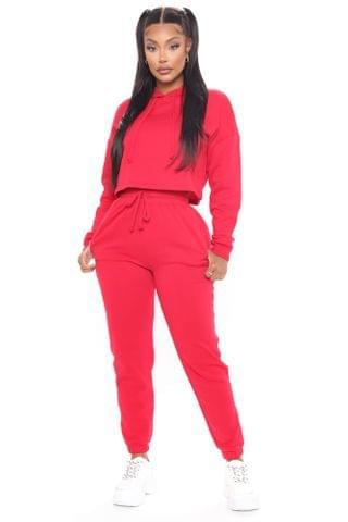 WOMEN Work Things Out Fleece Joggers - Red