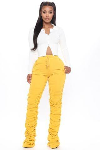 WOMEN Curves And Chill Stacked Pant - Mustard