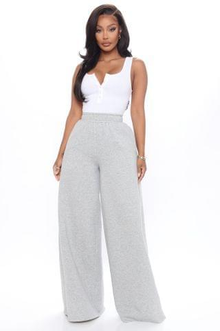 WOMEN The Way She Moves Wide Leg Sweatpant - Heather Grey
