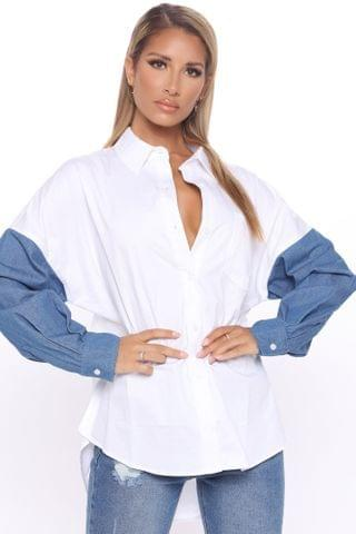 WOMEN Just Want Ur Touch Button Down Shirt - White/combo