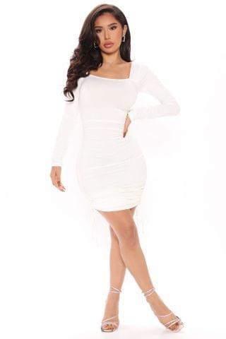 WOMEN All Ruched Up Mini Dress - White