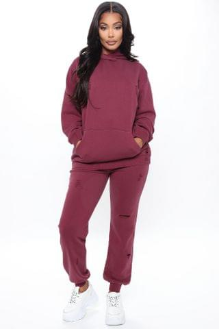 WOMEN Take Care Of You Distressed Jogger - Burgundy