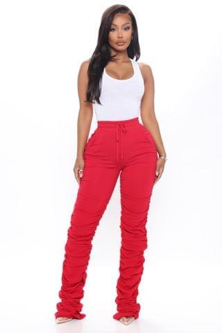 WOMEN Curves And Chill Stacked Pant - Red