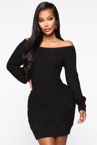 WOMEN Bella Off Shoulder Sweater Dress - Black