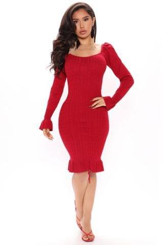 WOMEN Wanna Dance Off Shoulder Mini Dress - Red