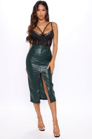 WOMEN Slit This One Out Faux Leather Skirt - Green