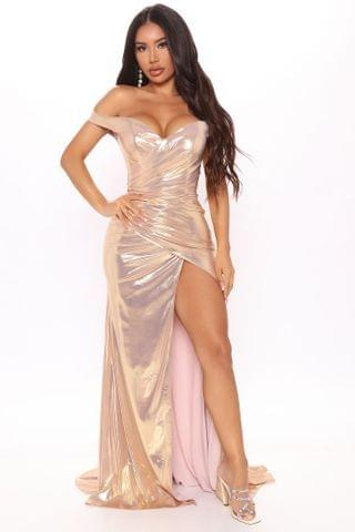 WOMEN Catch A Glimpse Metallic Maxi Dress - Rose Gold