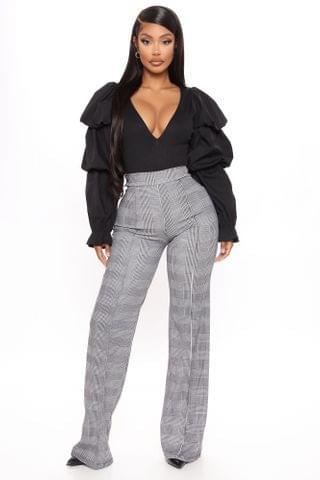 WOMEN Victoria High Waisted Dress Pant Plaid - Black/White