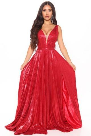 WOMEN Can't Compare Metallic Maxi Dress - Red