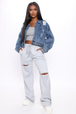 WOMEN Chilling In The Cut Sweatpant - Heather Grey