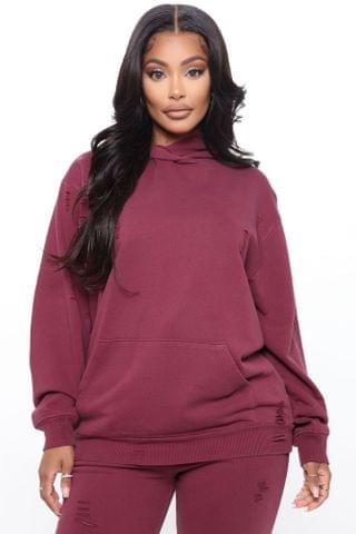 WOMEN Take Care Of You Distressed Hoodie - Burgundy