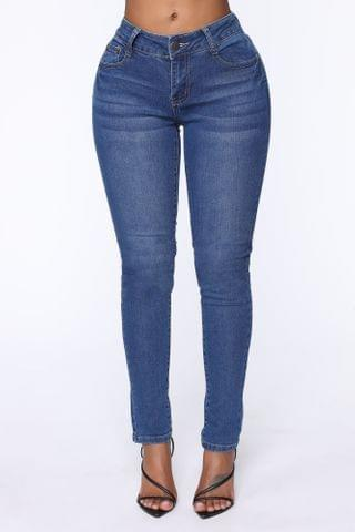 WOMEN Not So Complicated Mid Rise Jeans - Medium Blue Wash