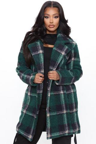 WOMEN Winter In New York Plaid Coat - Green/combo