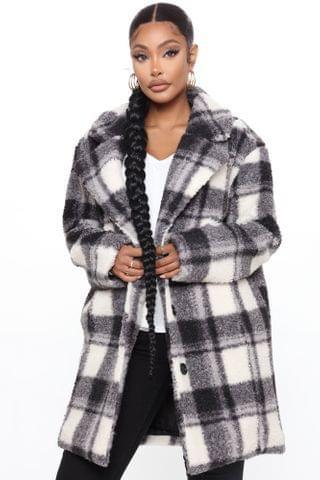 WOMEN Winter In New York Plaid Coat - Black/combo