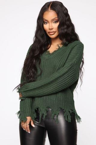WOMEN Always Distressing Me Out Sweater - Green