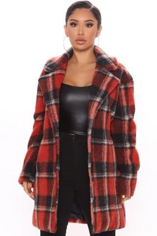 WOMEN Winter In New York Plaid Coat - Cognac