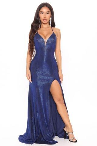 WOMEN Evening Gala Metallic Maxi Dress - Blue