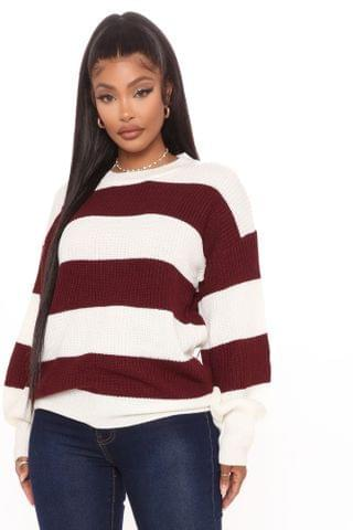 WOMEN Autumn Dreams Striped Sweater - Burgundy/combo