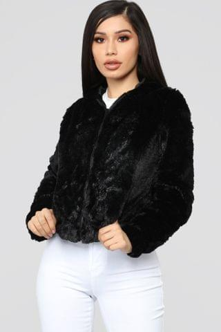 WOMEN Look Don't Touch Fuzzy Jacket - Black